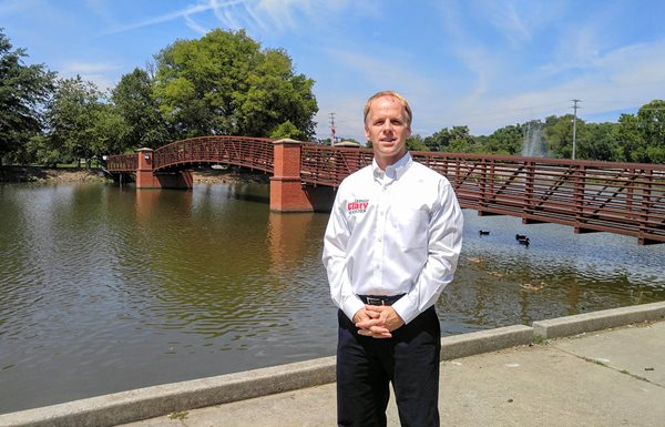 Mayor Jamie Clary in front of a bridge