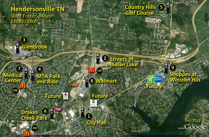 Hendersonville, TN Charging Station Map